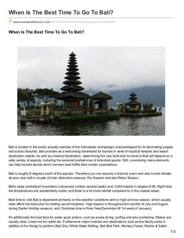 When Is The Best Time To Go To Bali? www.kutabalibeach.com/2016/05/when-is-best-time-to-go-to-bali.html When Is The Best T...