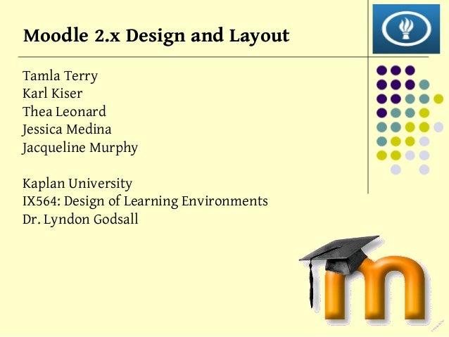 Moodle 2.x Design and Layout Tamla Terry Karl Kiser Thea Leonard Jessica Medina Jacqueline Murphy Kaplan University IX564:...
