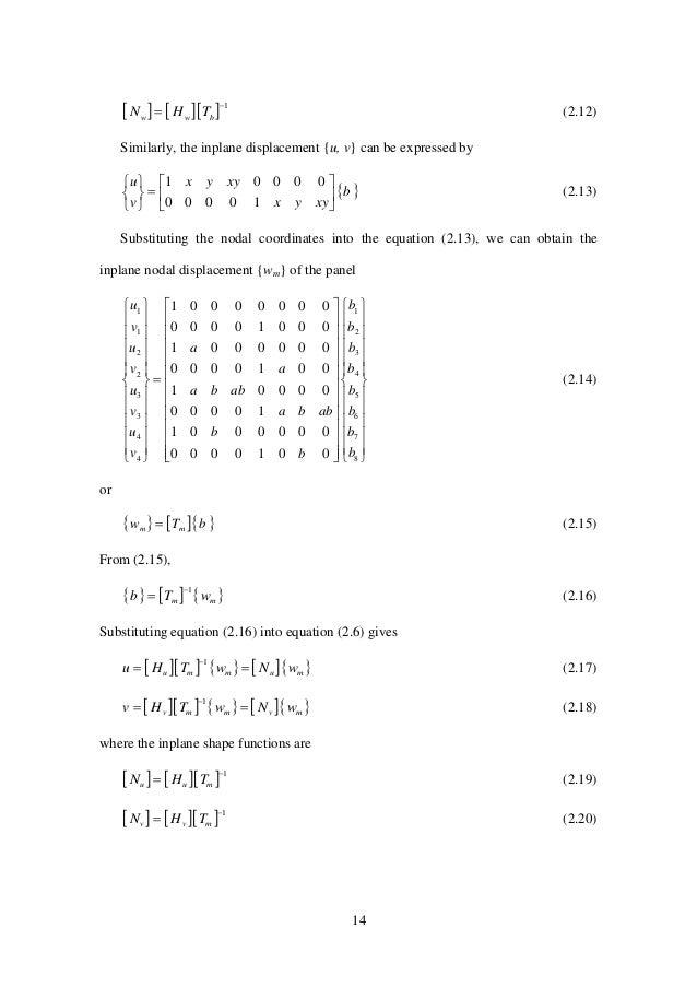 14      1  bww THN (2.12) Similarly, the inplane displacement {u, v} can be expressed by  b xyyx xyyx v u   ...