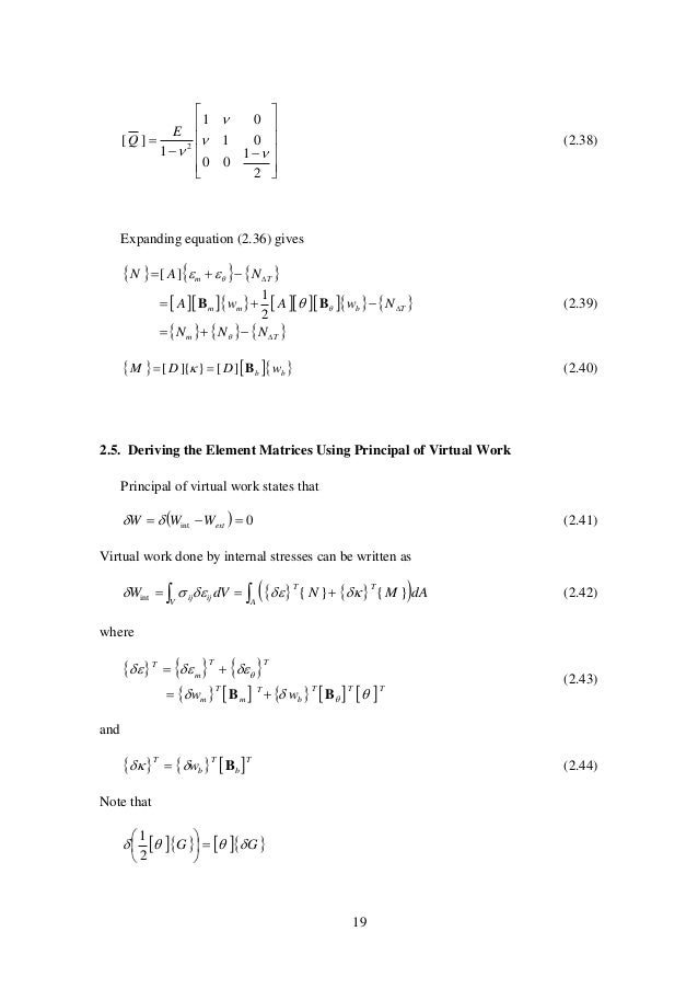 19               2 1 00 01 01 1 ][ 2     E Q (2.38) Expanding equation (2.36) gives         ...