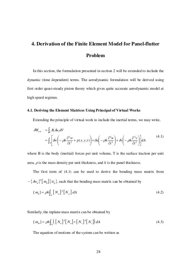 28 4. Derivation of the Finite Element Model for Panel-flutter Problem In this section, the formulation presented in secti...