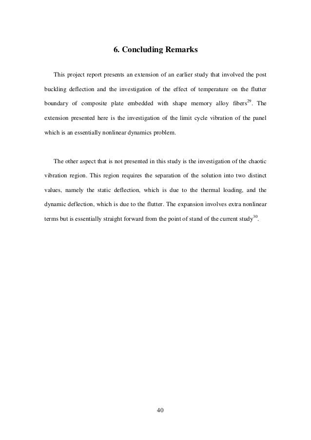 40 6. Concluding Remarks This project report presents an extension of an earlier study that involved the post buckling def...
