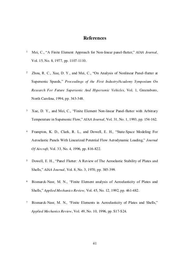 "41 References 1 Mei,C.,""AFiniteElementApproachforNon-linear panel-flutter,""AIAA Journal, Vol. 15, No. 8, 1977, pp...."