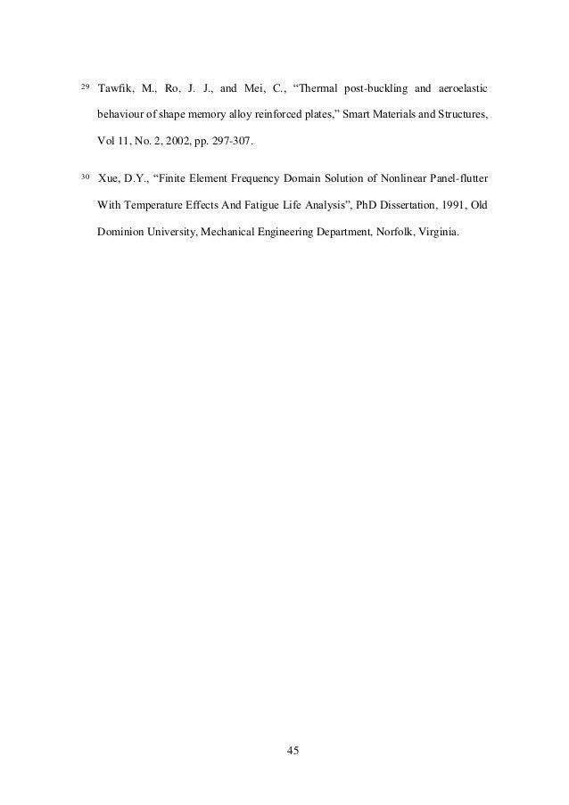 "45 29 Tawfik, M., Ro, J. J., and Mei, C., ""Thermal post-buckling and aeroelastic behaviourofshapememoryalloyrein..."