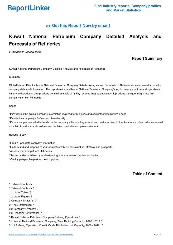 Kuwait National Petroleum Company Detailed Analysis and Forecasts of …