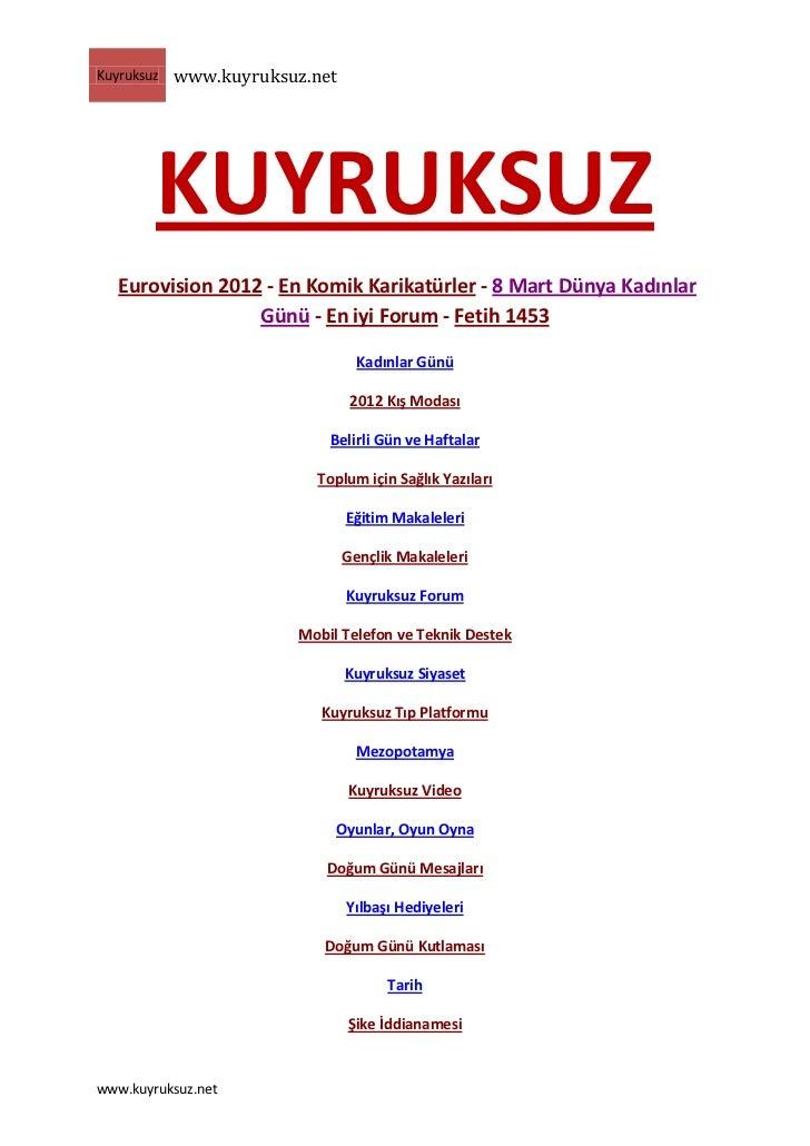 Kuyruksuz   www.kuyruksuz.net        KUYRUKSUZ   Eurovision 2012 - En Komik Karikatürler - 8 Mart Dünya Kadınlar          ...