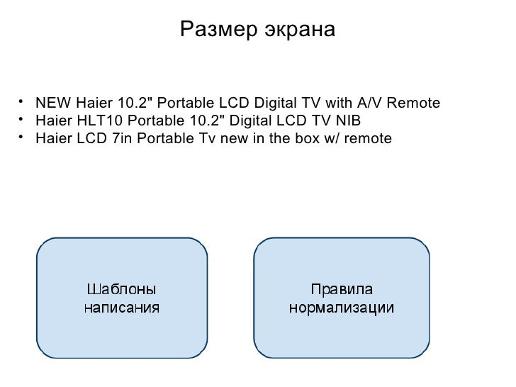 Размер экрана <ul><ul><li>NEW Haier 10.2&quot; Portable LCD Digital TV with A/V Remote  </li></ul></ul><ul><ul><li>Haier H...