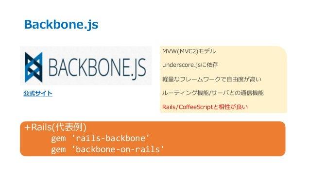 Backbone.js 公式サイト MVW(MVC2)モデル underscore.jsに依存 軽量なフレームワークで自由度が高い ルーティング機能/サーバとの通信機能 Rails/CoffeeScriptと相性が良い +Rails(代表例) ...