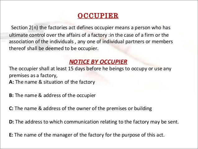 Image result for Notice By Occupier in Labour Laws diagram