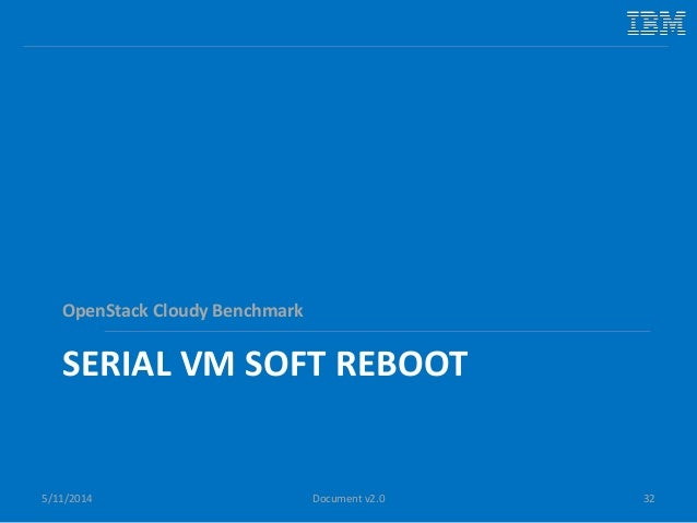 SERIAL VM SOFT REBOOT OpenStack Cloudy Benchmark 5/11/2014 32Document v2.0