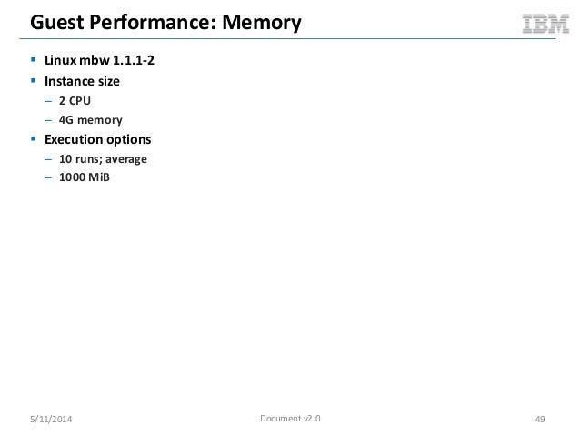 Guest Performance: Memory  Linux mbw 1.1.1-2  Instance size – 2 CPU – 4G memory  Execution options – 10 runs; average –...