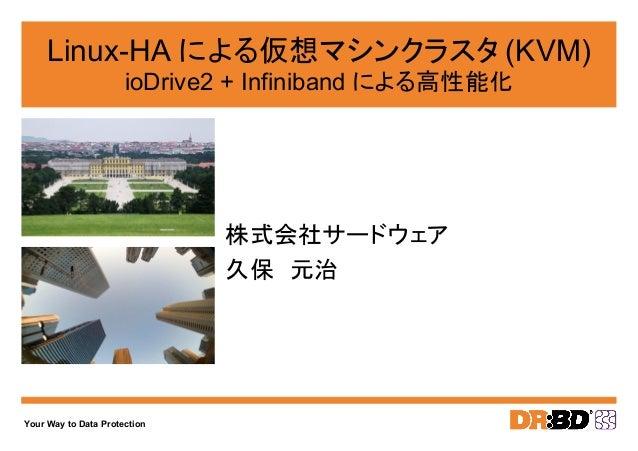 Your Way to Data Protection Linux-HA による仮想マシンクラスタ (KVM) ioDrive2 + Infiniband による高性能化 株式会社サードウェア 久保 元治