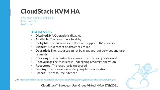 CloudStack KVM HA Why configure HA for Hosts? How it works? HA States CloudStack™ European User Group Virtual - May 27th 20...