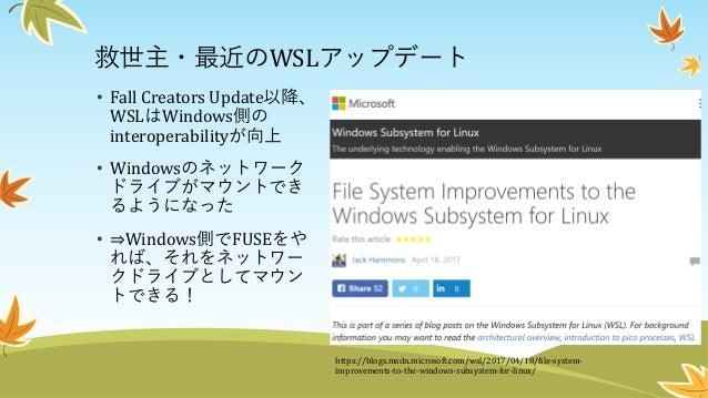 WSL FUSE 概略 1. WSL側でLibfuseと互換性のあるLibwslfuse(仮)を提供する 2. LibwslfuseはWindows側でヘルパープロセスを起動して、それ とUnixソケットでIPCすることで、Windows側のF...