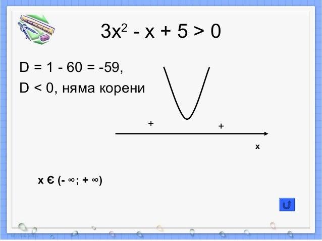 3х2 - х + 5 > 0 D = 1 - 60 = -59, D < 0, няма корени + + x Є (- ∞; + ∞) x