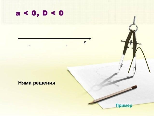 a < 0, D < 0 x - - Няма решения Пример