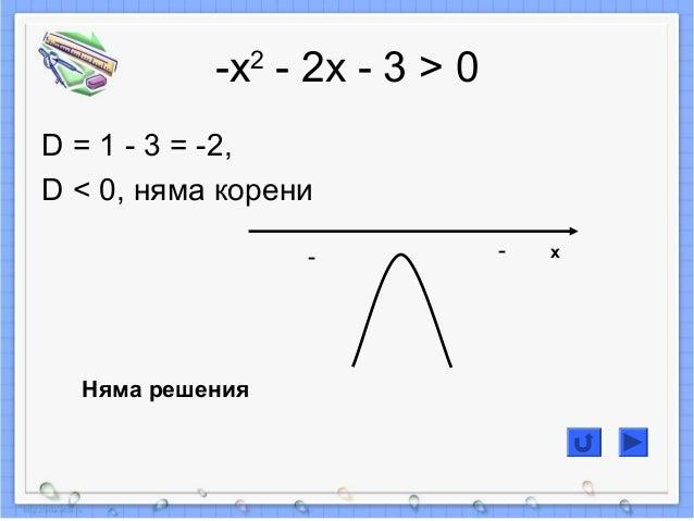 -х2 - 2х - 3 > 0 D = 1 - 3 = -2, D < 0, няма корени -- Няма решения x