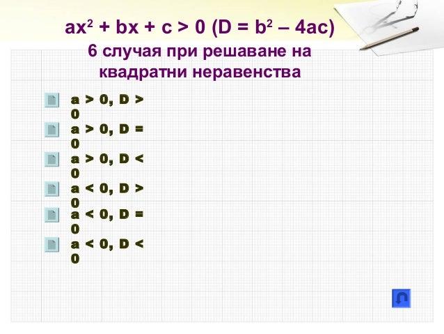 ах2 + bx + c > 0 (D = b2 – 4ac) 6 случая при решаване на квадратни неравенства a > 0, D > 0 a > 0, D = 0 a > 0, D < 0 a < ...