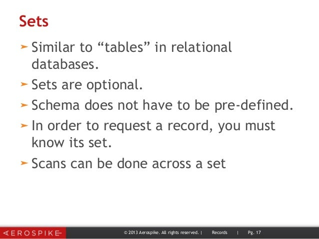"""Sets ➤ Similar to """"tables"""" in relational databases. ➤ Sets are optional. ➤ Schema does not have to be pre-defined. ➤ In or..."""