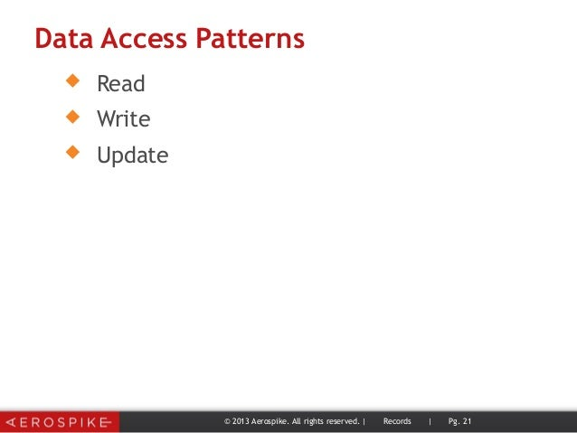 Data Access Patterns  Read  Write  Update © 2013 Aerospike. All rights reserved. | Records | Pg. 21
