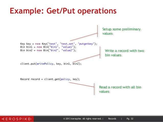 Example: Get/Put operations © 2013 Aerospike. All rights reserved. | Records | Pg. 32 Setup some preliminary values Setup ...