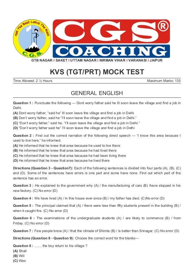 KVS & DSSSB - PRT, TGT Mock Test With Answers - CGS Coaching