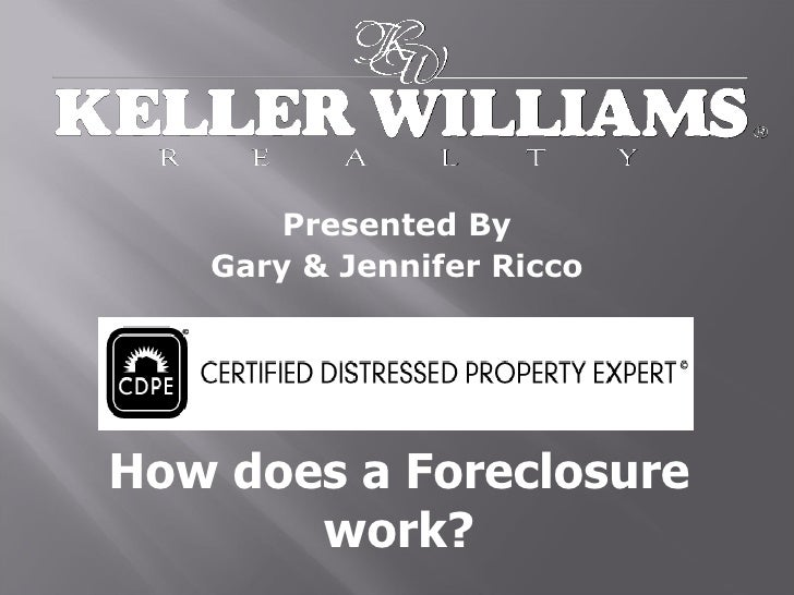 Presented By Gary & Jennifer Ricco How does a Foreclosure work?