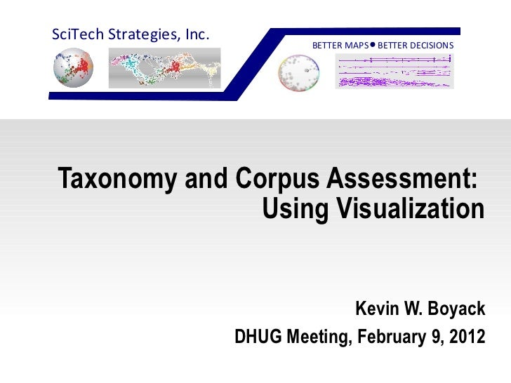 Taxonomy and Corpus Assessment:  Using Visualization Kevin W. Boyack DHUG Meeting, February 9, 2012