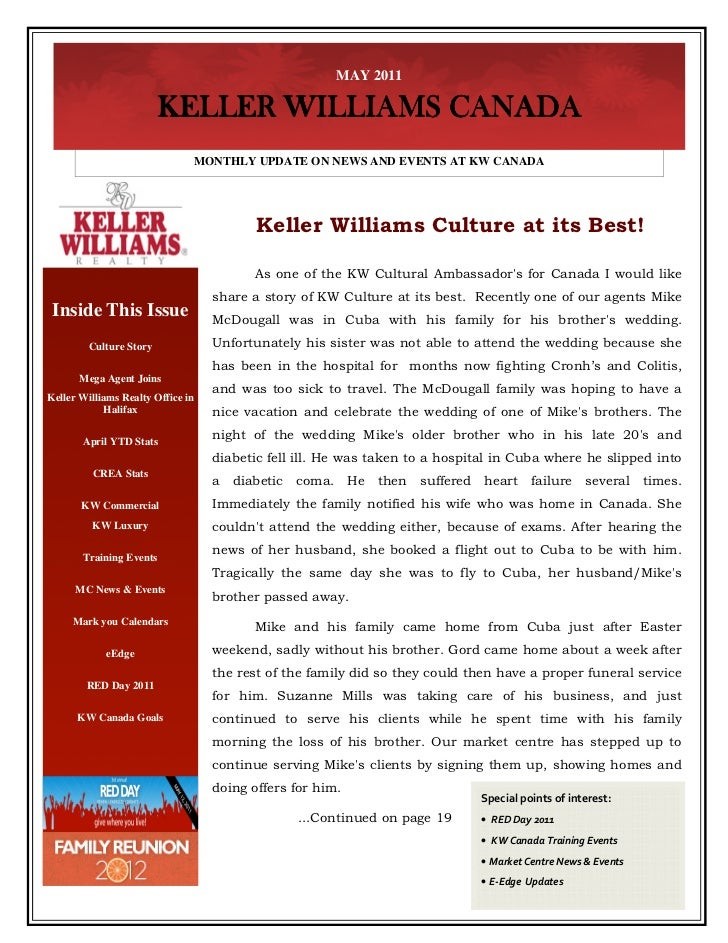 MAY 2011                         KELLER WILLIAMS CANADA                               MONTHLY UPDATE ON NEWS AND EVENTS AT...