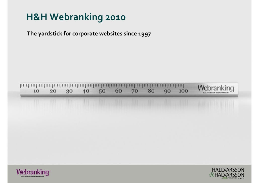 H&H Webranking 2010The yardstick for corporate websites since 1997