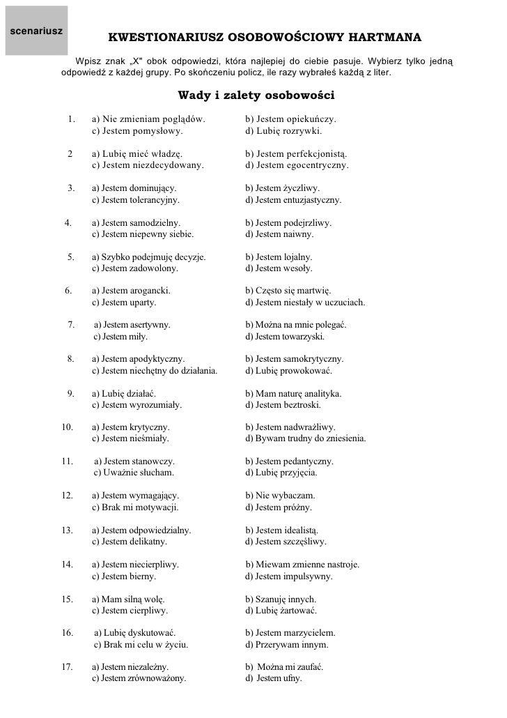 Świeże Kwestionariusz Styl Interpersonalny Hartmana TI01