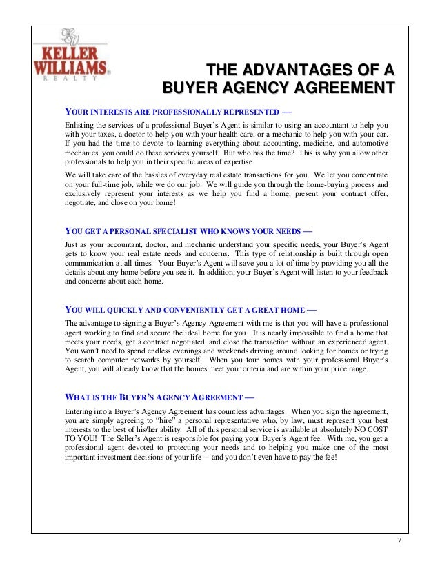 Kw home buyingpacket 6 7 the advantages of a buyer agency agreement platinumwayz
