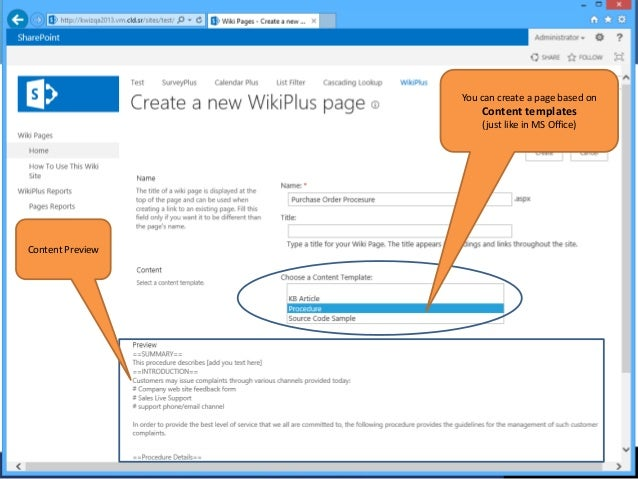 Kwizcom Sharepoint Wiki Plus 2013 Product Overview