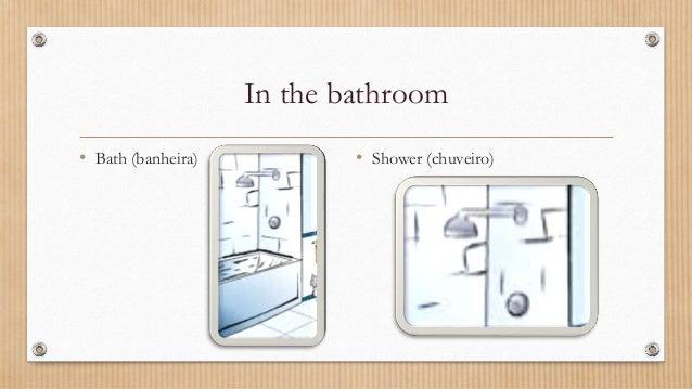 In the bathroom • Bath (banheira) • Shower (chuveiro)