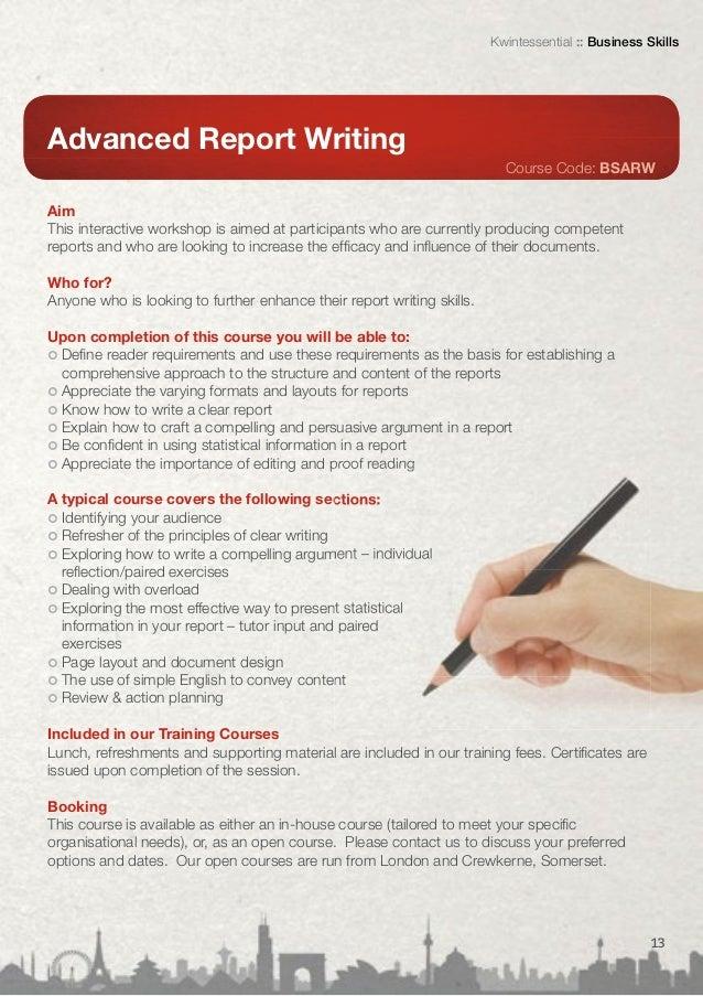 business report writing training london