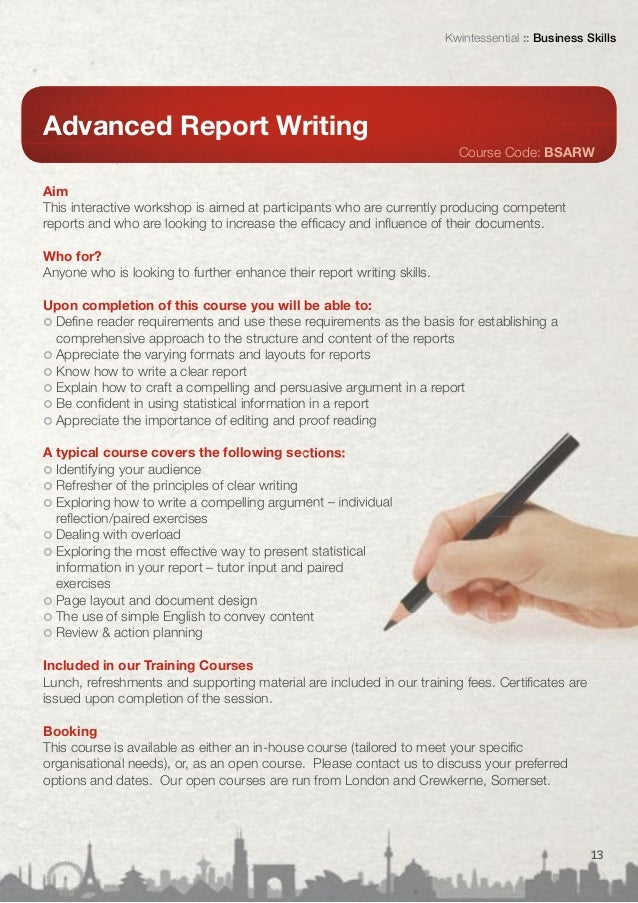 un online report writing course