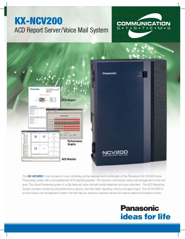 KX-NCV200ACD Report Server/Voice Mail System                                     ACD Report                               ...