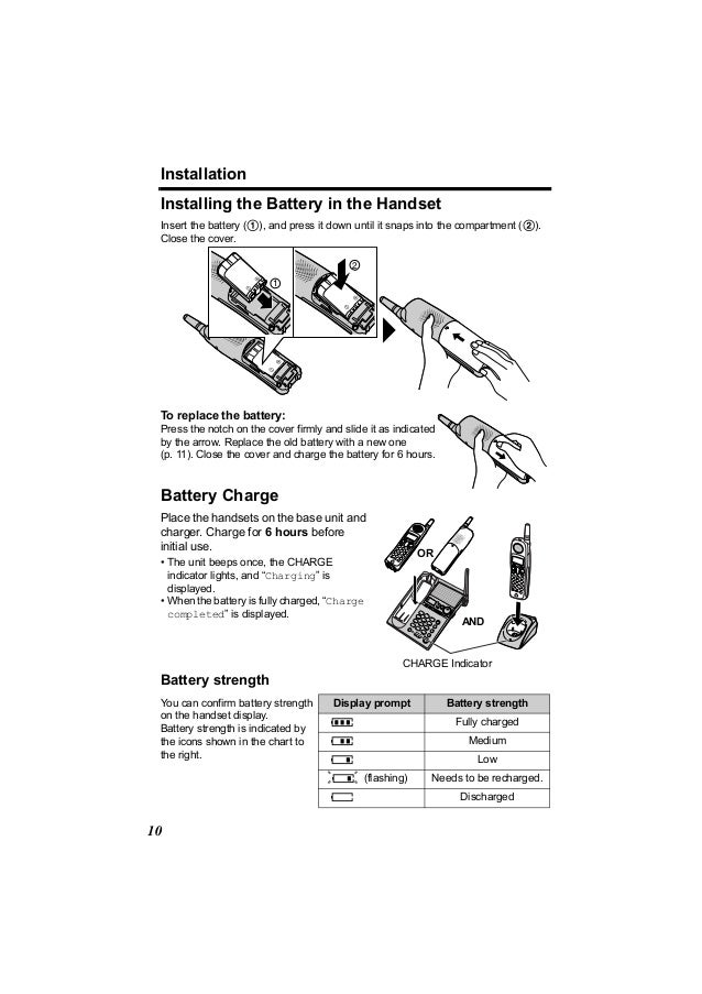 Installation Installing the Battery in the Handset Insert the battery (1), and press it down until it snaps into the compa...