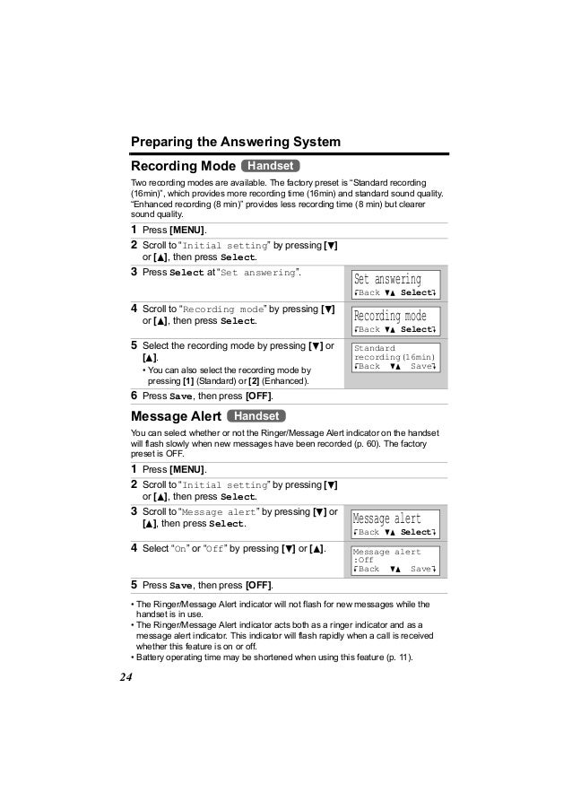 """Preparing the Answering System Recording Mode Handset Two recording modes are available. The factory preset is """"Standard r..."""