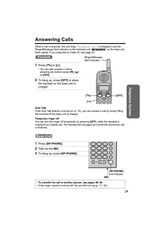 """Answering CallsWhen a call is received, the unit rings, """"Incoming call"""" is displayed, and theRinger/Message Alert indicato..."""