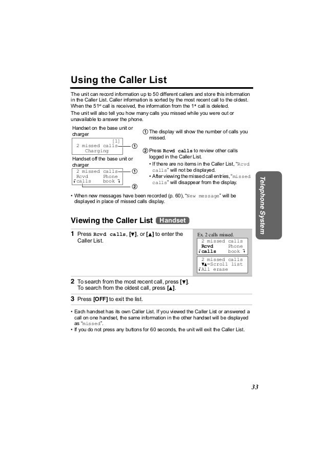 Using the Caller ListThe unit can record information up to 50 different callers and store this informationin the Caller Li...