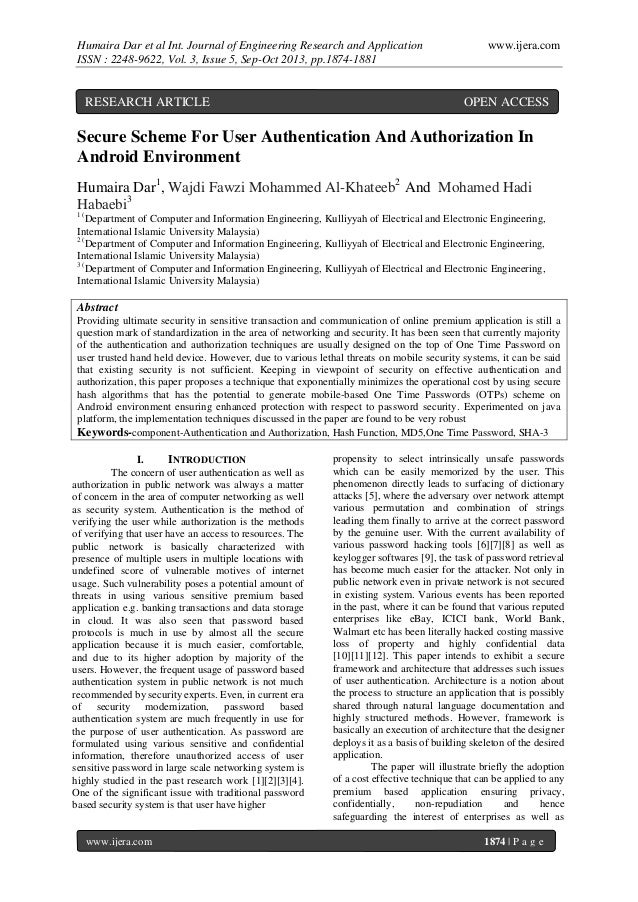 Humaira Dar et al Int. Journal of Engineering Research and Application ISSN : 2248-9622, Vol. 3, Issue 5, Sep-Oct 2013, pp...