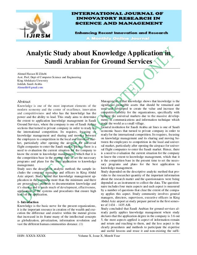 ISSN: XXXX-XXXX Volume X, Issue X, Month Year Analytic Study about Knowledge Application in Saudi Arabian for Ground Servi...