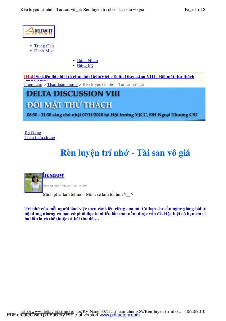 Rèn luyện trí nhớ - Tài sản vô giá Ren luyen tri nho - Tai san vo gia                Page 1 of 8           • Trang Chủ    ...