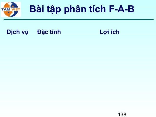 138Bài tập phân tích F-A-BDịch vụ Đặc tính Lợi ích
