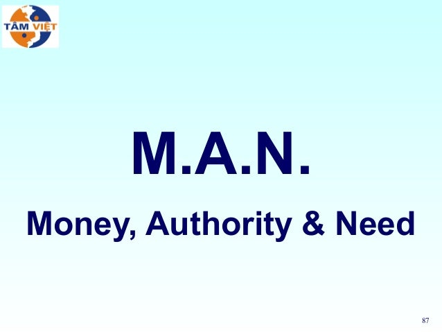 87M.A.N.Money, Authority & Need