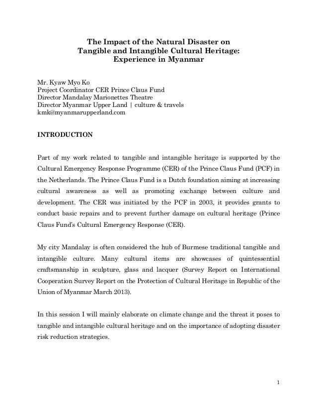 The Impact of the Natural Disaster on Tangible and Intangible Cultural Heritage: Experience in Myanmar Mr. Kyaw Myo Ko Pro...