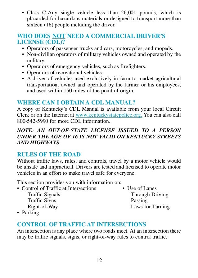 ky drivers manual