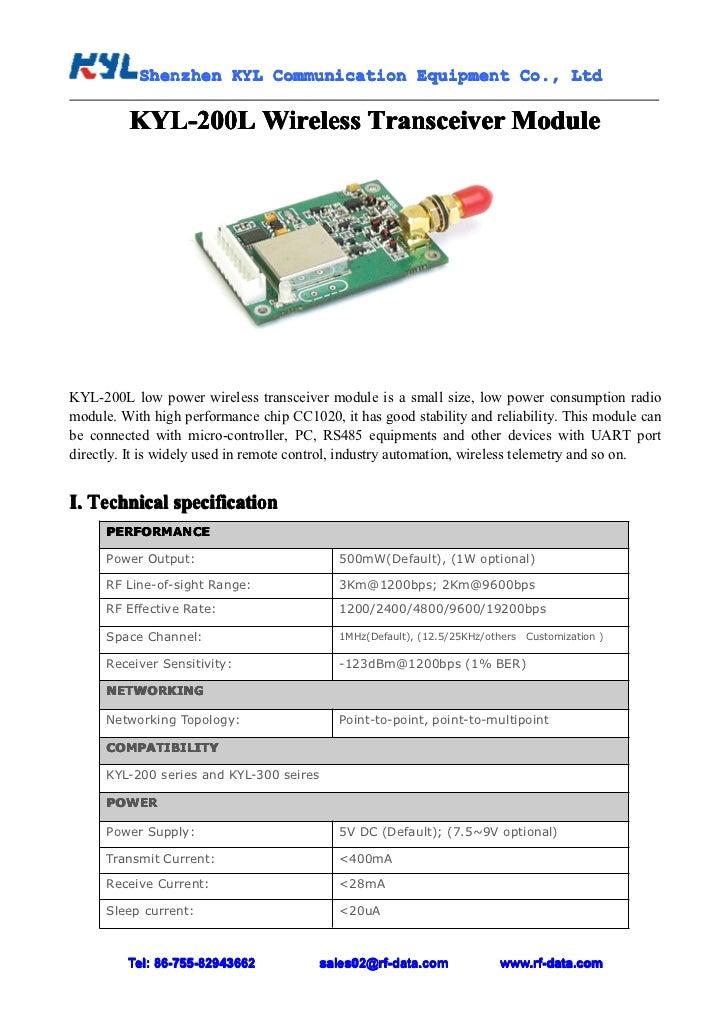 Shenzhen KYL Communication Equipment Co., Ltd           Shenz                                Co.         KYL-200L Wireless...