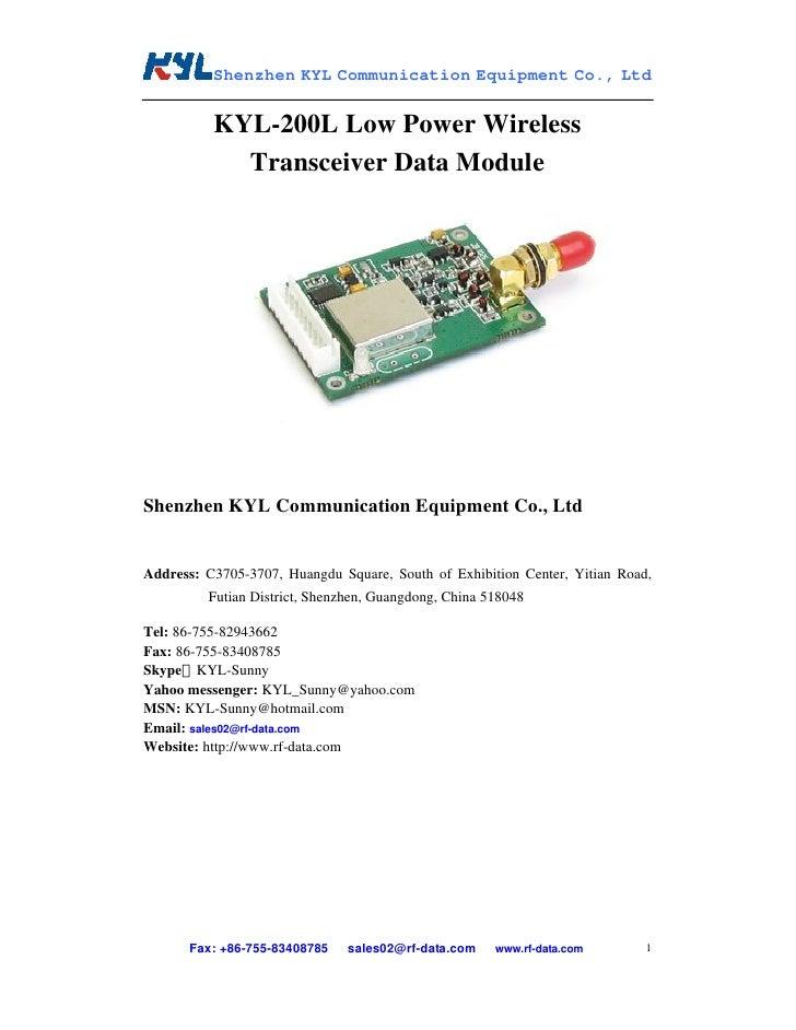 Shenzhen KYL Communication Equipment Co., Ltd             KYL-200L Low Power Wireless             Transceiver Data Module ...